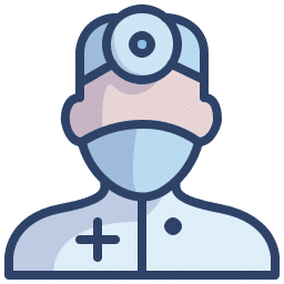 Icon showing a doctor with a head mirror